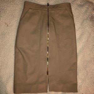 Diane Von Furstenberg Tan Maxi Zip Up Skirt